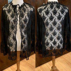 Vintage 50s 60s Black Lace Lingerie Tie Robe